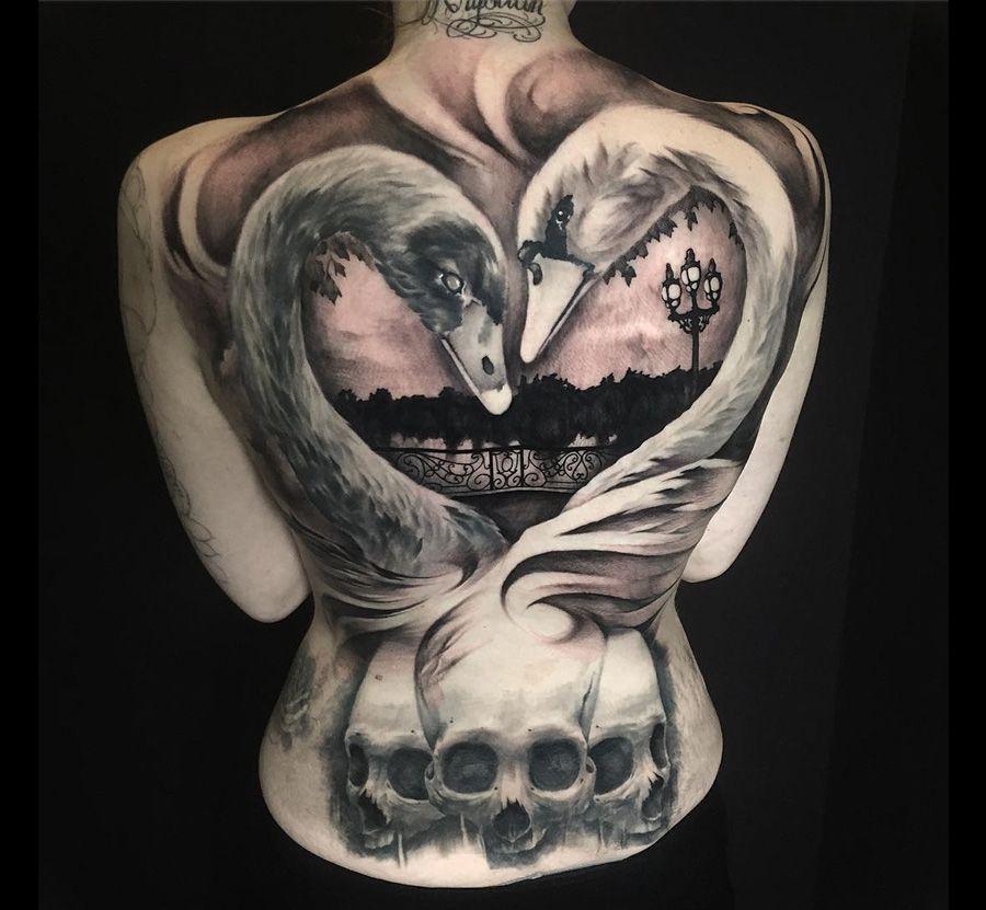 swans skulls girls full back piece best tattoo ideas designs tattoo pinterest swans. Black Bedroom Furniture Sets. Home Design Ideas