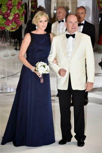 MYROYALSHOLLYWOOD FASHİON: 66th Monaco Red Cross Ball Gala, Sporting Carlo, Monaco, August 1, 2014-Princess Charlene and Prince Albert