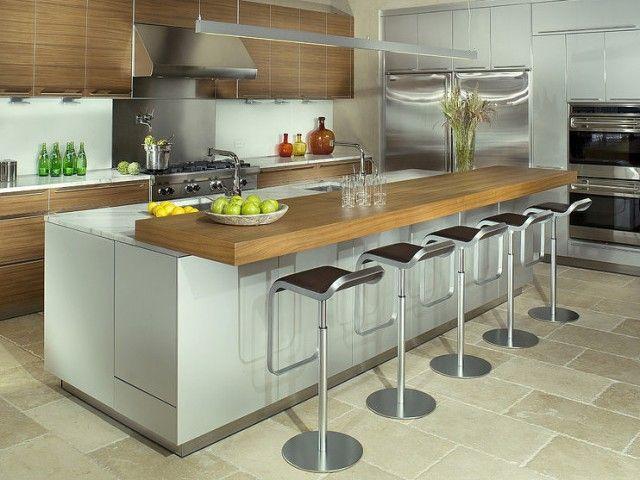 avec table intégrée  cuisine, conception de cuisine et table design