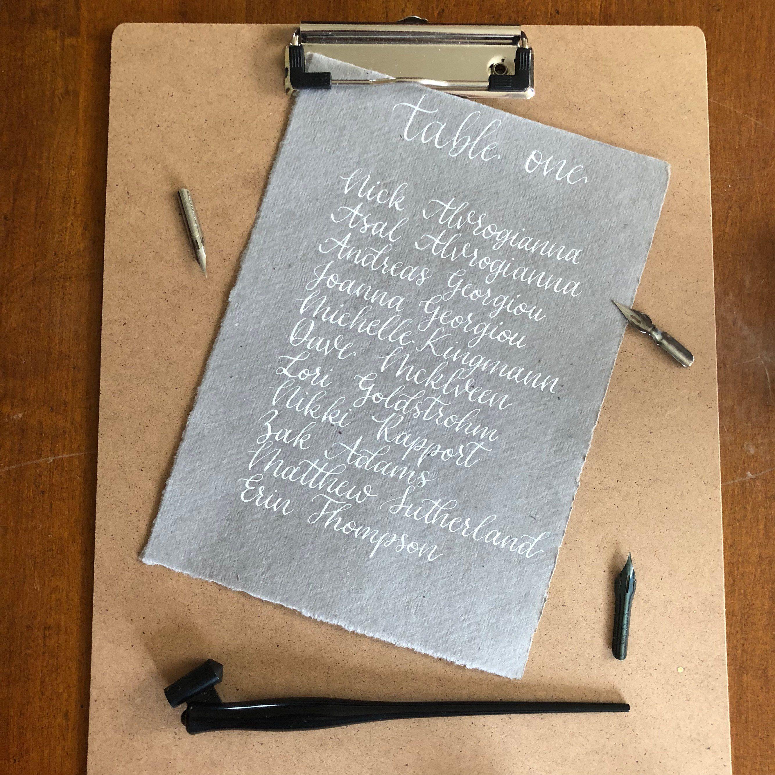 Calligraphy Seating Chart Cotton Rag Seating Plan Gray Wedding Seating Chart Handwritten Table Chart Handmade Cotton Rag Custom Seating
