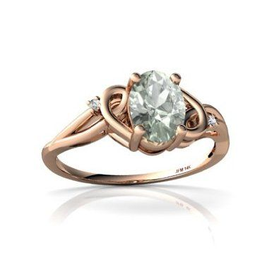 Amazon.com: 14k Rose Gold Oval Genuine Green Amethyst Ring: Jewelry