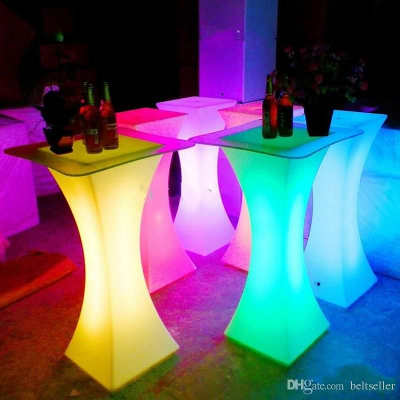 round glowing led bar table