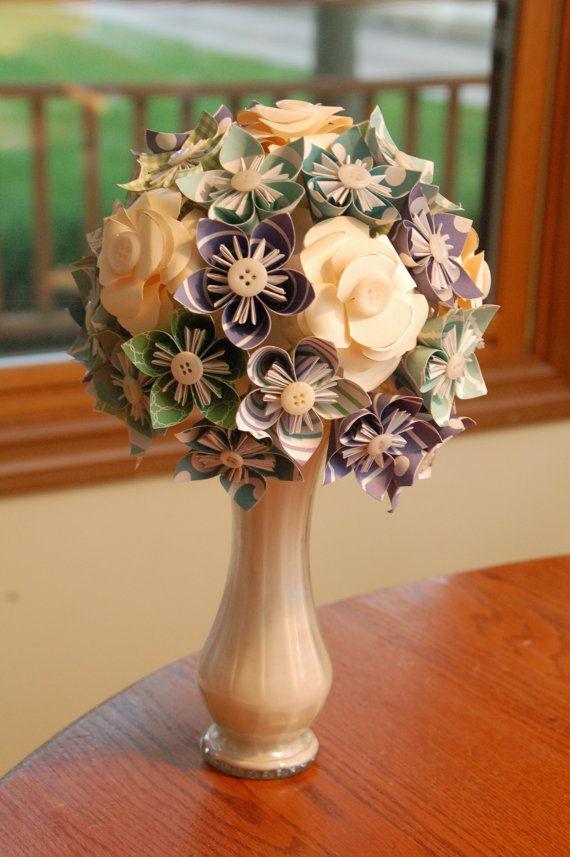DIY Beautiful Origami Bouquet Kit, Cool Colors, Kusudama Flower Arrangement
