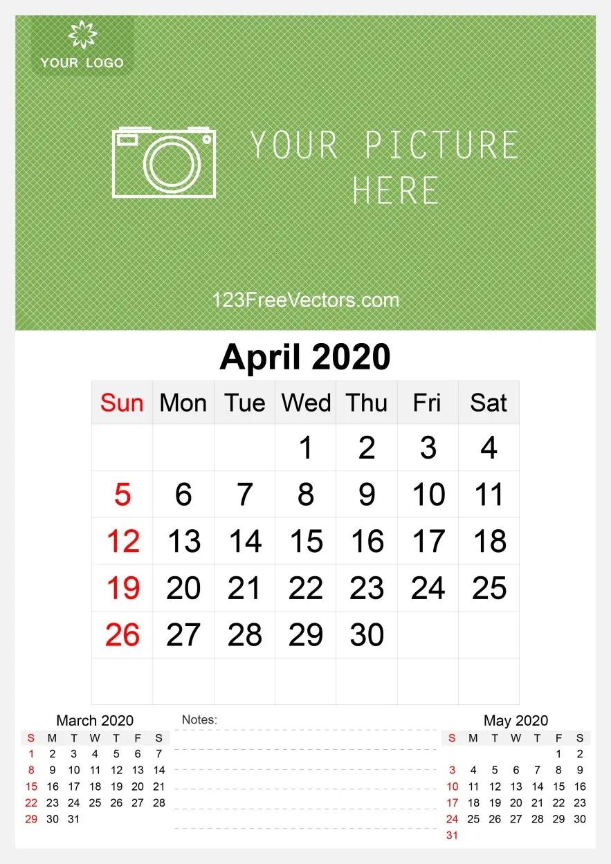 2020 April Wall Calendar Template Free Calendar Template Printing Labels Template Free