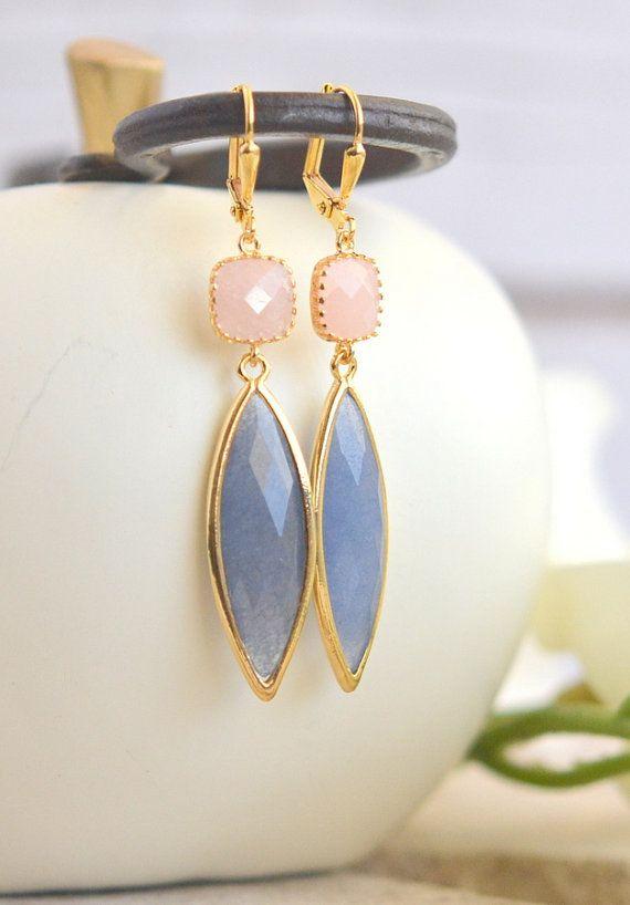 Dangle Earrings Gift for Her.  Drop Earrings. Blue by RusticGem
