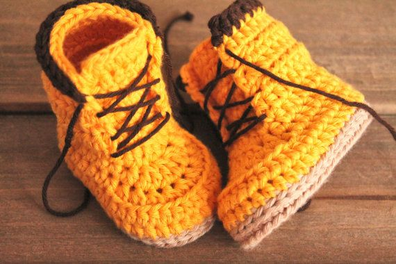 CROCHET PATTERN boots for baby boys fall booties Woodsman Construction Boot Crochet Pattern, Yellow #crochetbabyboots