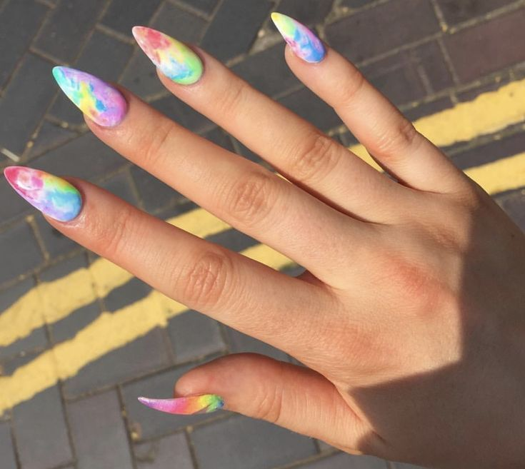 Tie Dye Nails In 2020 Hippie Nails Tie Dye Nails Rainbow Nails