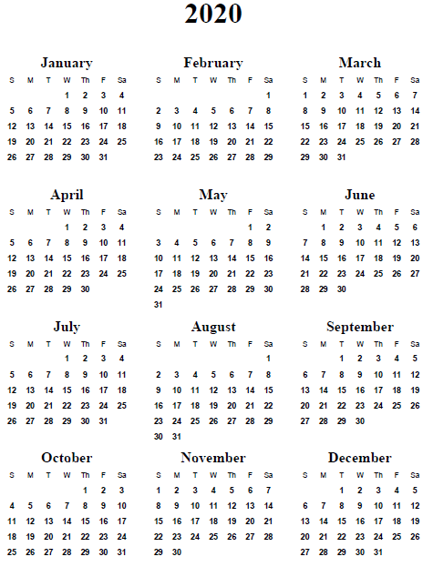 2020 Printable Yearly Calendar.2020 Calendar Printable Free Printable Calendar Template