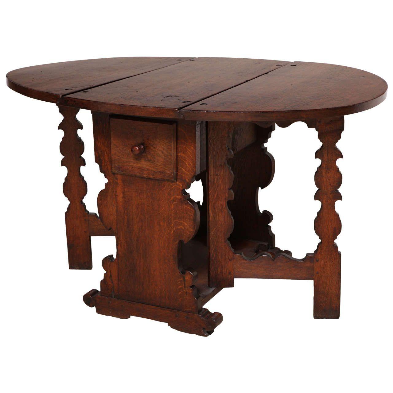 Antique Flemish Oak Drop-Leaf Gate Leg Table   From a unique collection of…