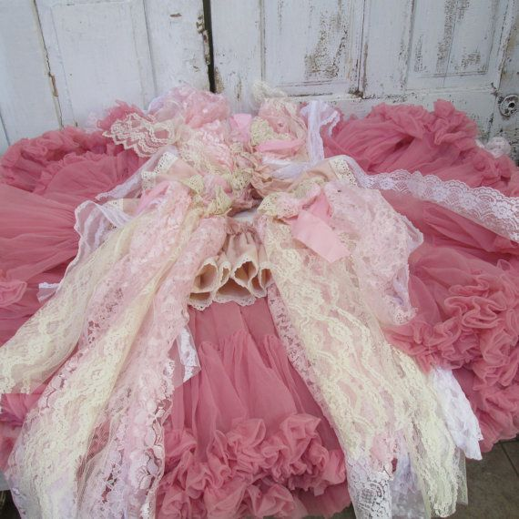 shabby chic christmas tree skirt pink with tattered torn lace fabric rh pinterest com