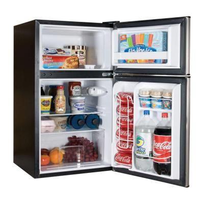 Haier 3 3 Cu Ft Mini 2 Door Refrigerator Freezer In Stainless Steel Look Hnde03vs At The Home Geladeira Portatil Armazenamento De Alimentos Itens De Cozinha
