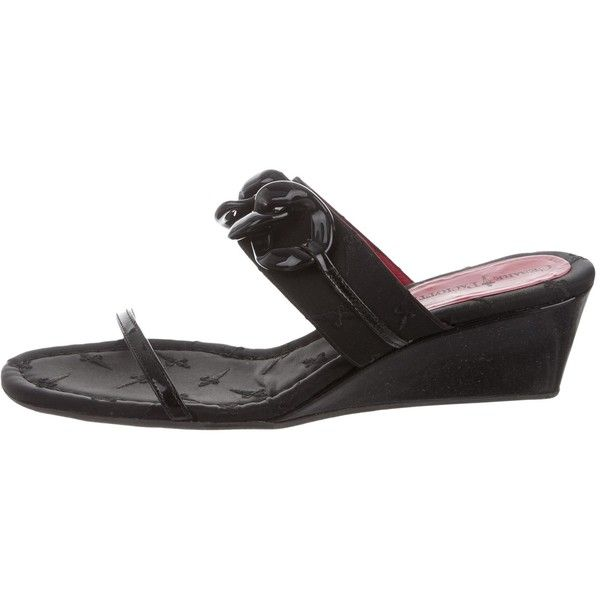 Pre-owned Cesare Paciotti Embroidered Wedge Sandals ($125) ❤ liked on Polyvore featuring shoes, sandals, black, black sandals, woven sandals, black wedge heel shoes, woven wedge sandals and black shoes