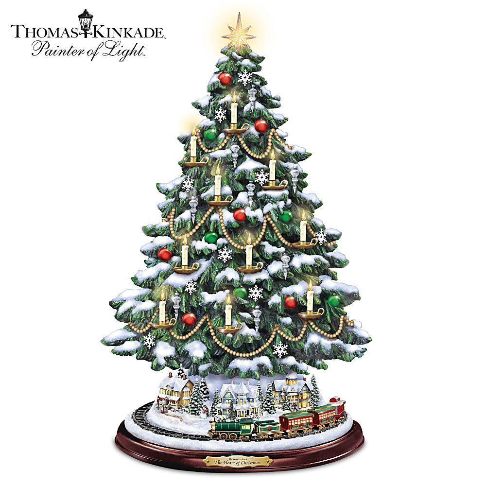 Thomas Kinkade Reflections Of Christmas Light Up Tabletop Tree Thomas Kinkade Christmas Ceramic Christmas Trees Tabletop Christmas Tree