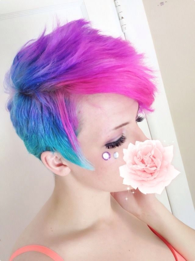 Pink Blue Purple Galaxy Hair Color Short Hair Styles Blue Ombre Hair