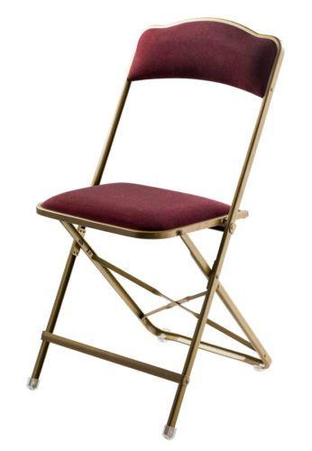 A Fritz Folding Chair Replica Gold Metal Frame