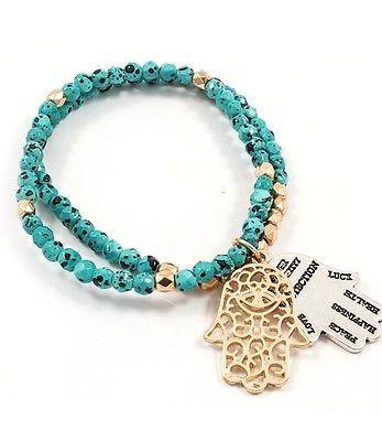 Goldtone Hamsa Charm Double Strand Turquoise Seed Bead Bracelet Free Shipping | eBay