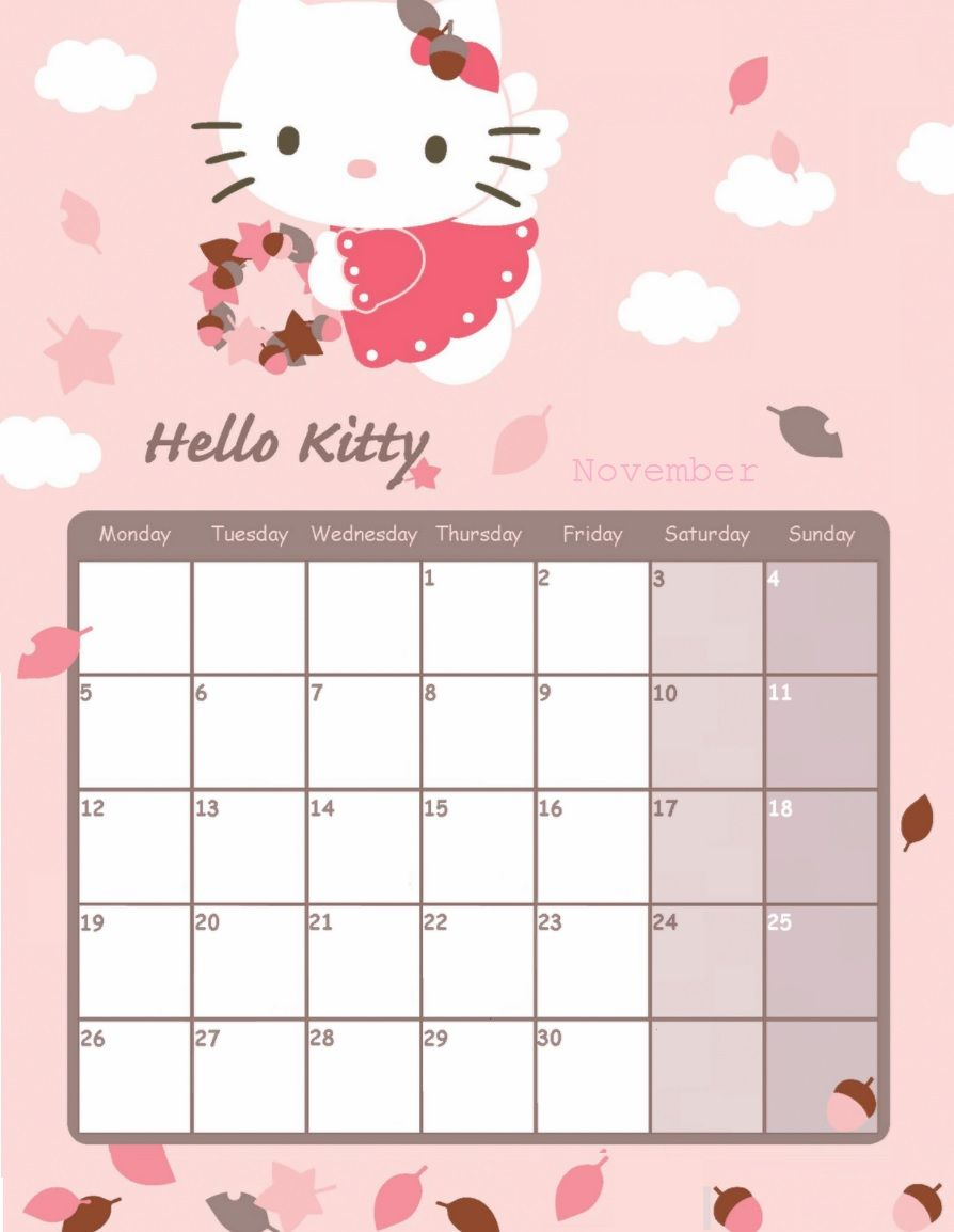 Printable Calendar 2019 Kitten December Hello Kitty November 2018 Calendar | Calendar 2018 | Monthly
