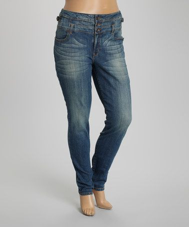 Love this Medium Stone High-Waist Jeans - Plus on #zulily! #zulilyfinds