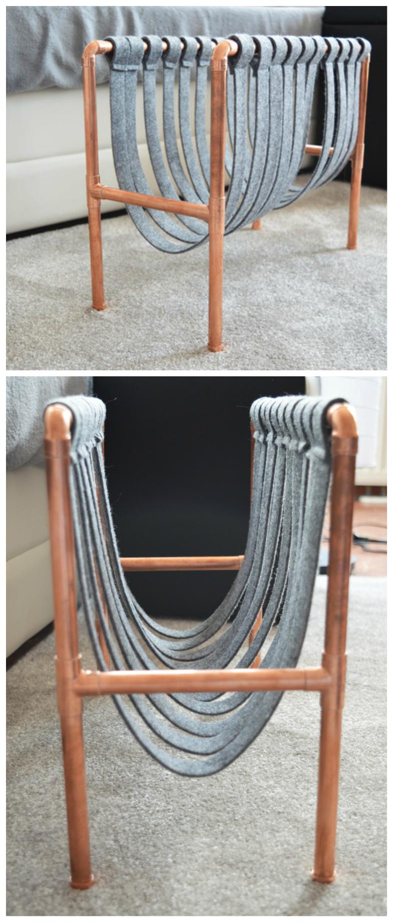 zeitungsst nder f rs wohnzimmer im industrie design aus filz und kupferrohren modern home. Black Bedroom Furniture Sets. Home Design Ideas
