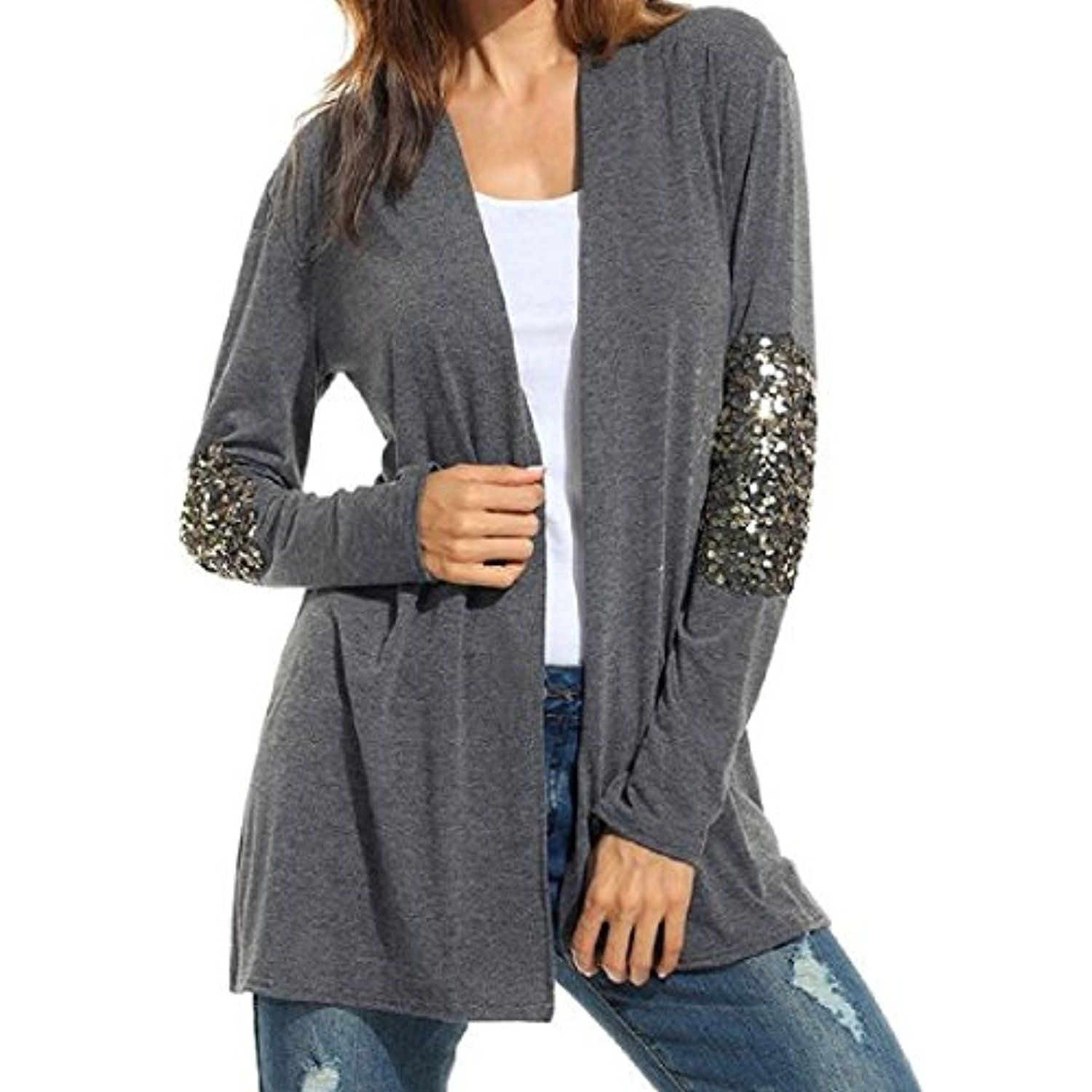 Women Plus Size Classic Sequins Jacket Sweater Cardigan *** Check ...