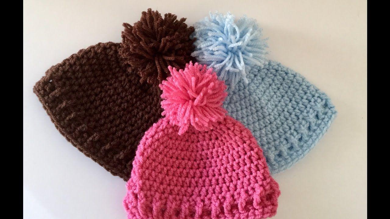 simple and Easy Crochet Baby Hat/Beanie | Crochet Tutorials | Pinterest