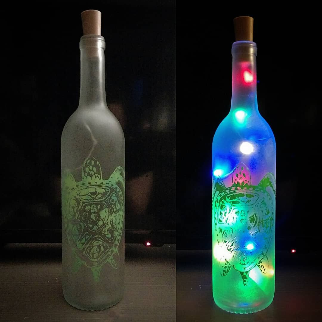 Fluoroescent Light Wine Bottles | Wine bottle centerpieces ...