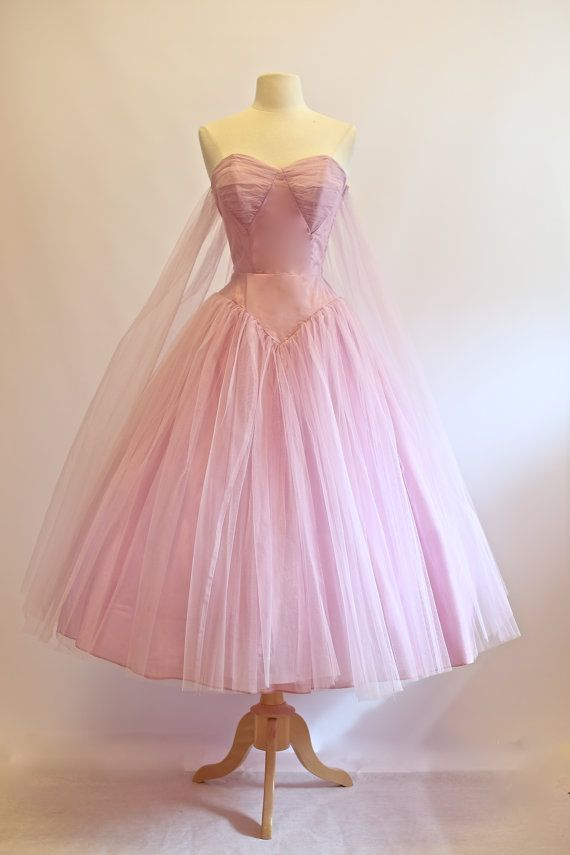 Vintage 1950s Prom Dress ~ Vintage 50s Strapless Tulle Prom Dress ...