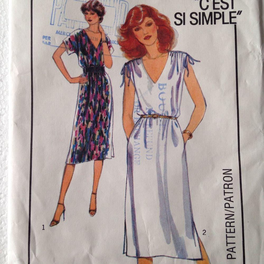 Vtg 1982 Pullover Dress Pattern Uncut 87cm Bust Sz 12 Rouched Shoulders V Neck #Style
