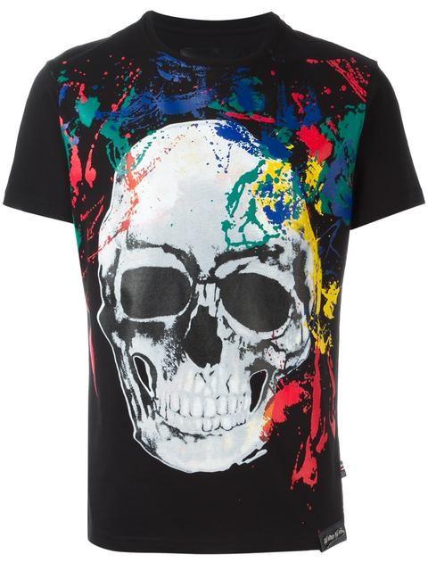 d075d83c570f PHILIPP PLEIN painted skull print T-shirt.  philippplein  cloth  t-shirt