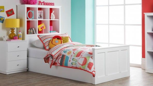 Lola Single Bed With Cube Shelves Redhead Harvey Norman Kids