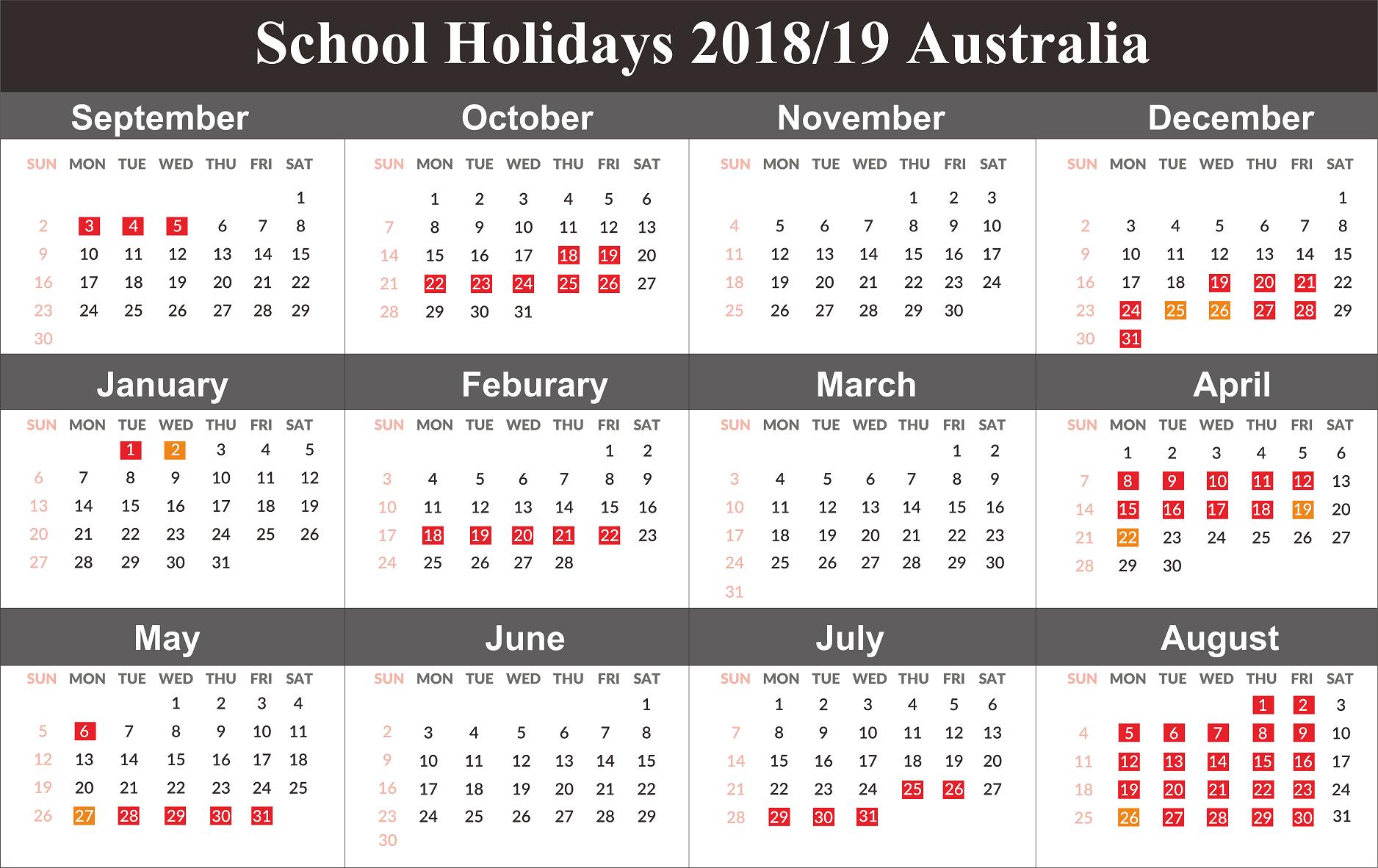 Australia 2019 School Holidays Calendar Holiday Calendar Printable School Holiday Calendar Holiday Calendar