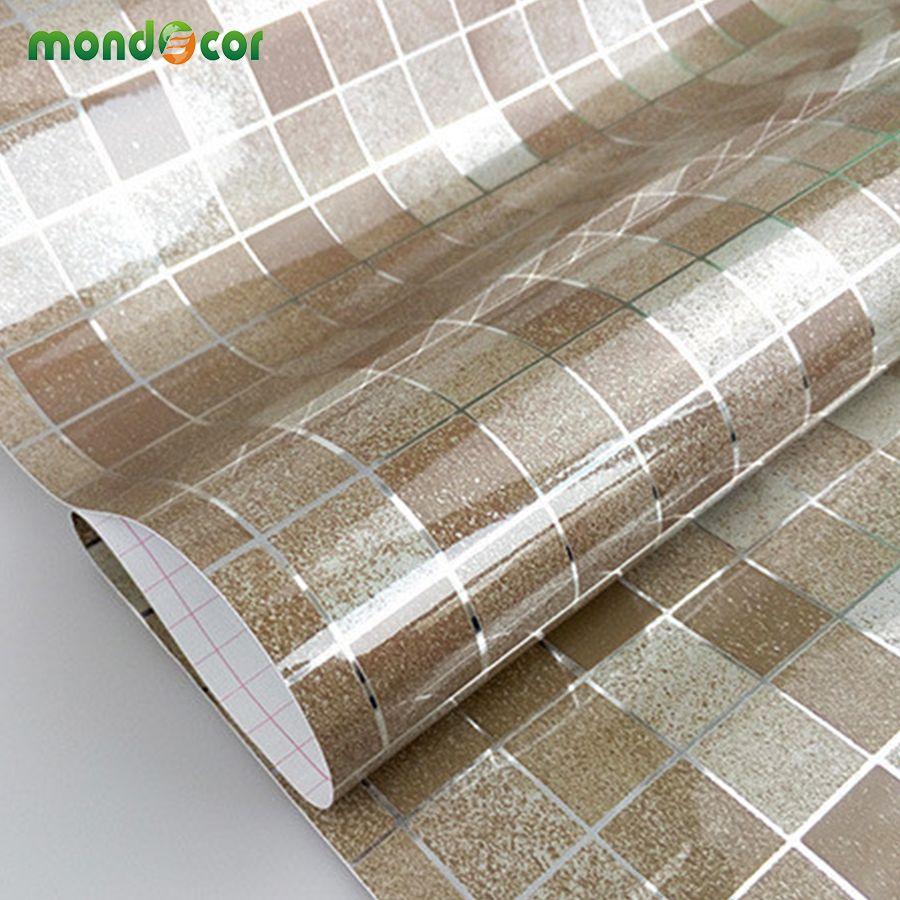 Modern Bathroom Waterproof Mosaic Vinyl Pvc Self Adhesive Anti Oil Kitchen Wallpaper He Bathroom Tile Diy Bathroom Wallpaper Waterproof Wall Stickers Wallpaper