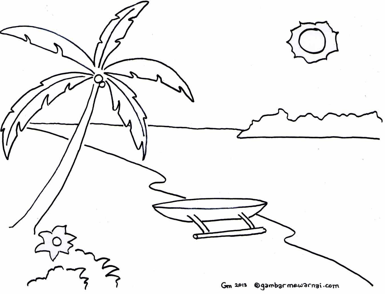 Mewarnai Gambar Pemandangan Pantai Buku Gambar Pemandangan