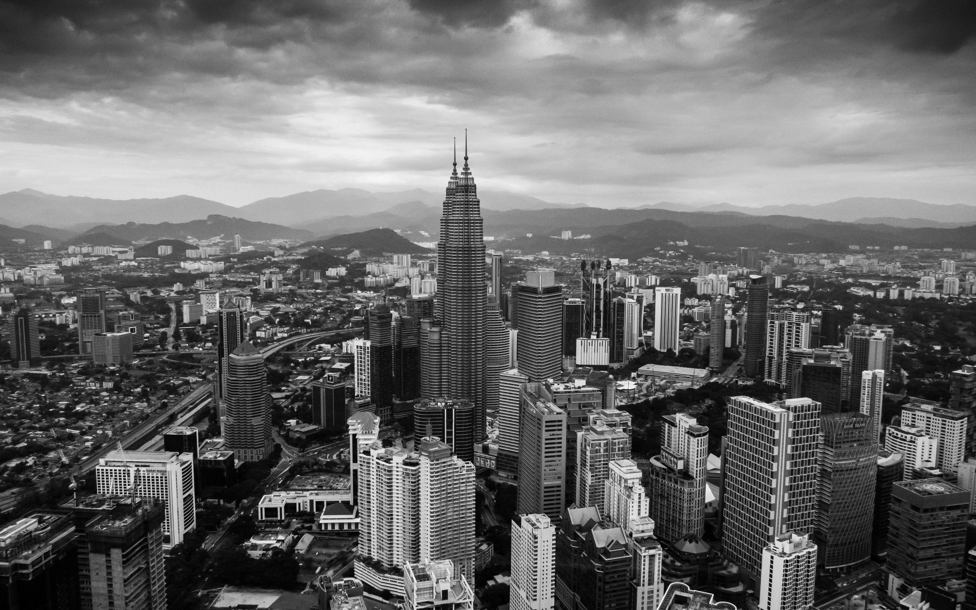 City Grayscale 4k Pemandangan Bangunan
