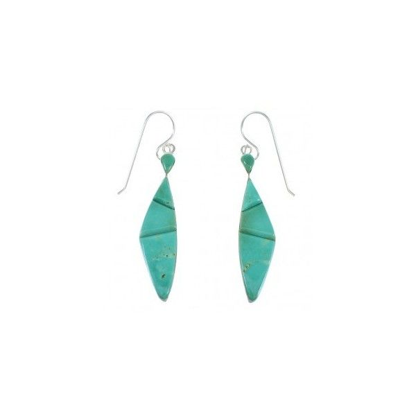 Southwest Silver And Turquoise Inlay Hook Dangle Earrings RX55735 ($60) ❤ liked on Polyvore