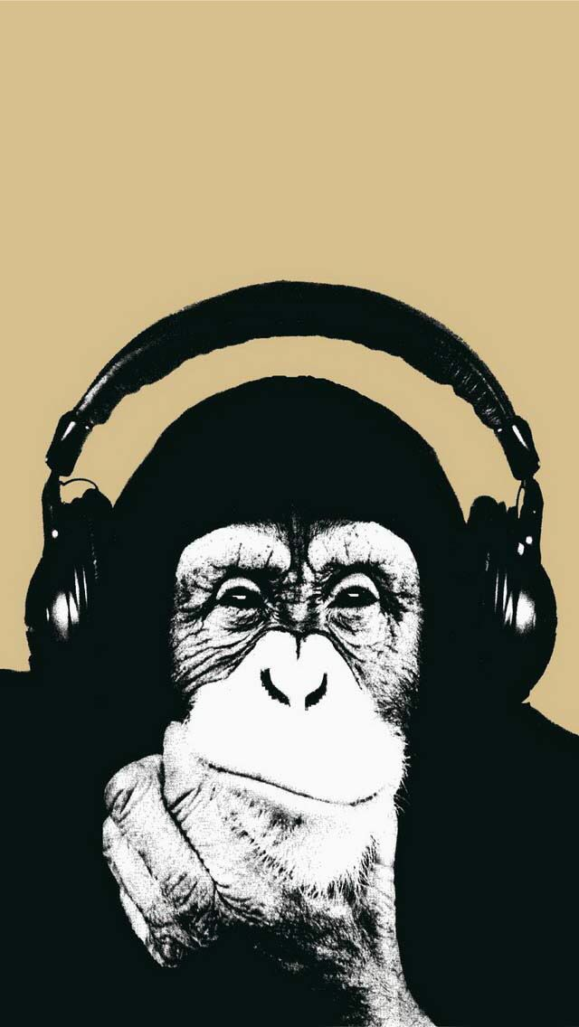 Chimpanzee Wearing Headphones Art Chimpanzee Monkey