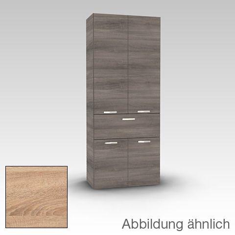 Artiqua Hochschrank mit 4 Türen Front castello eiche quer   Korpus - badezimmer hochschrank günstig