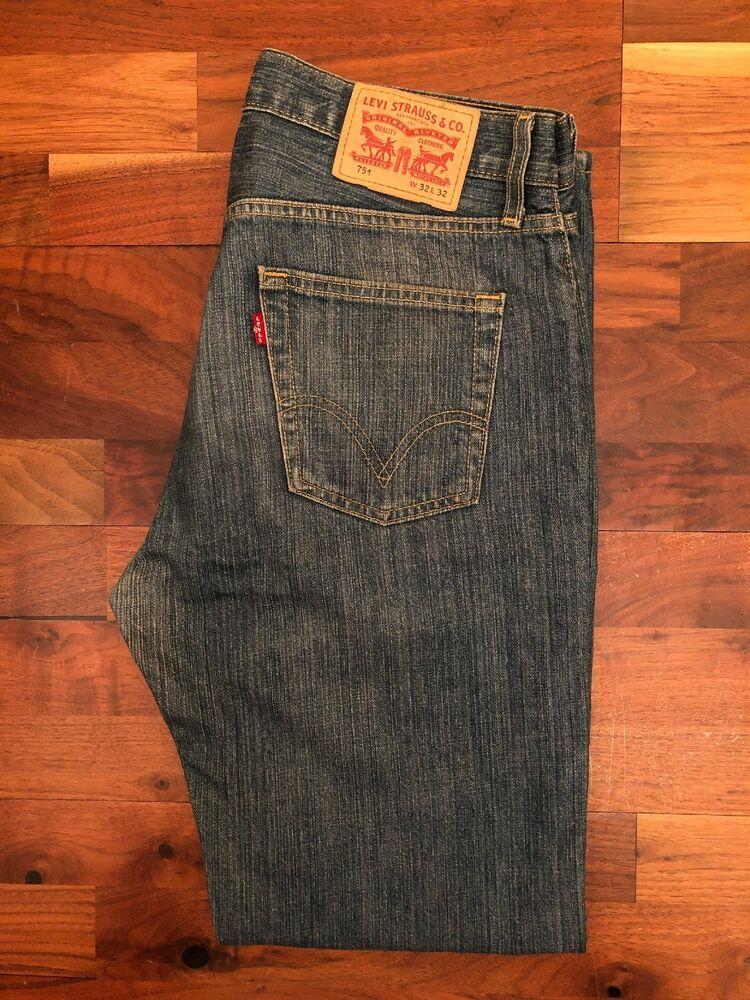 8e196dd9b2a Original Levi's 751 Classic Straight Leg Blue Marble Denim Jeans W32 L32 ES  9897 #fashion