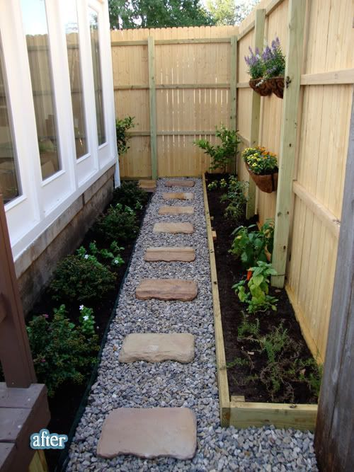 a small side yard garden with gravel stepping stones and plantings turns an unused space in the yard into a garden area - Garden Ideas In Small Spaces