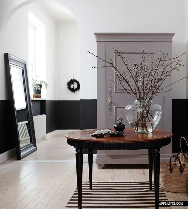 Painting A Half Accent Wall: Elegant Country House Interior // Styling By The Owners
