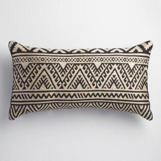 Black And Taupe Kilim Indoor Outdoor Lumbar Pillow Our Place