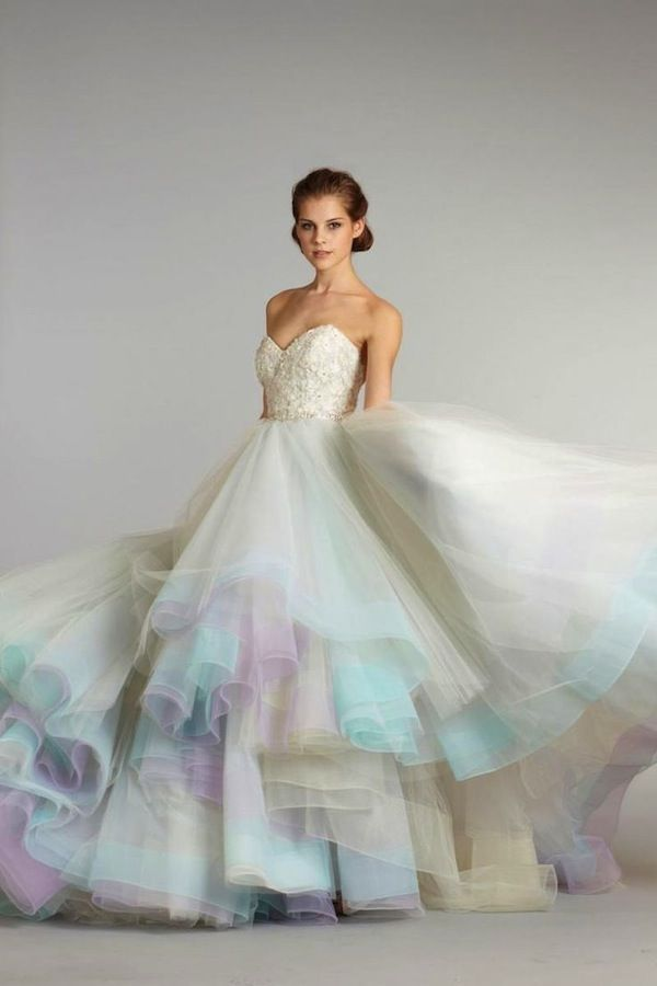 Rainbow-hued wedding gown by Lazaro (Fall 2012)   Watercolour ...