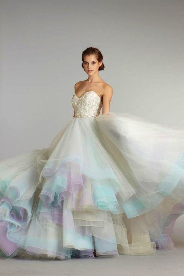 Watercolour Pastels Inspiration Board Rainbow Wedding Dress Lazaro Bridal Gown Colored Wedding Dresses