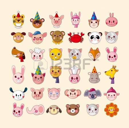 Vector plana conjunto de cabezas de animales de dibujos animados divertido iconos iconos - Cabezas animales tela ...