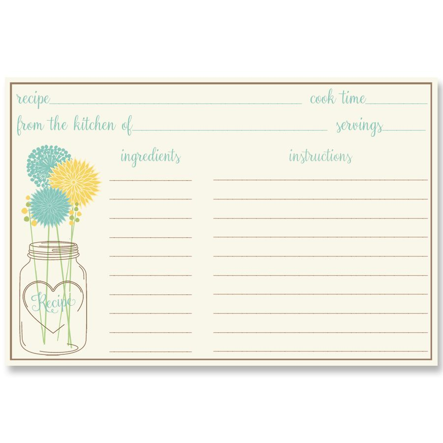 Mason Jar Aqua and Yellow Recipe Card for a fun Bridal Shower game for a country wedding - via theinvitelady.com