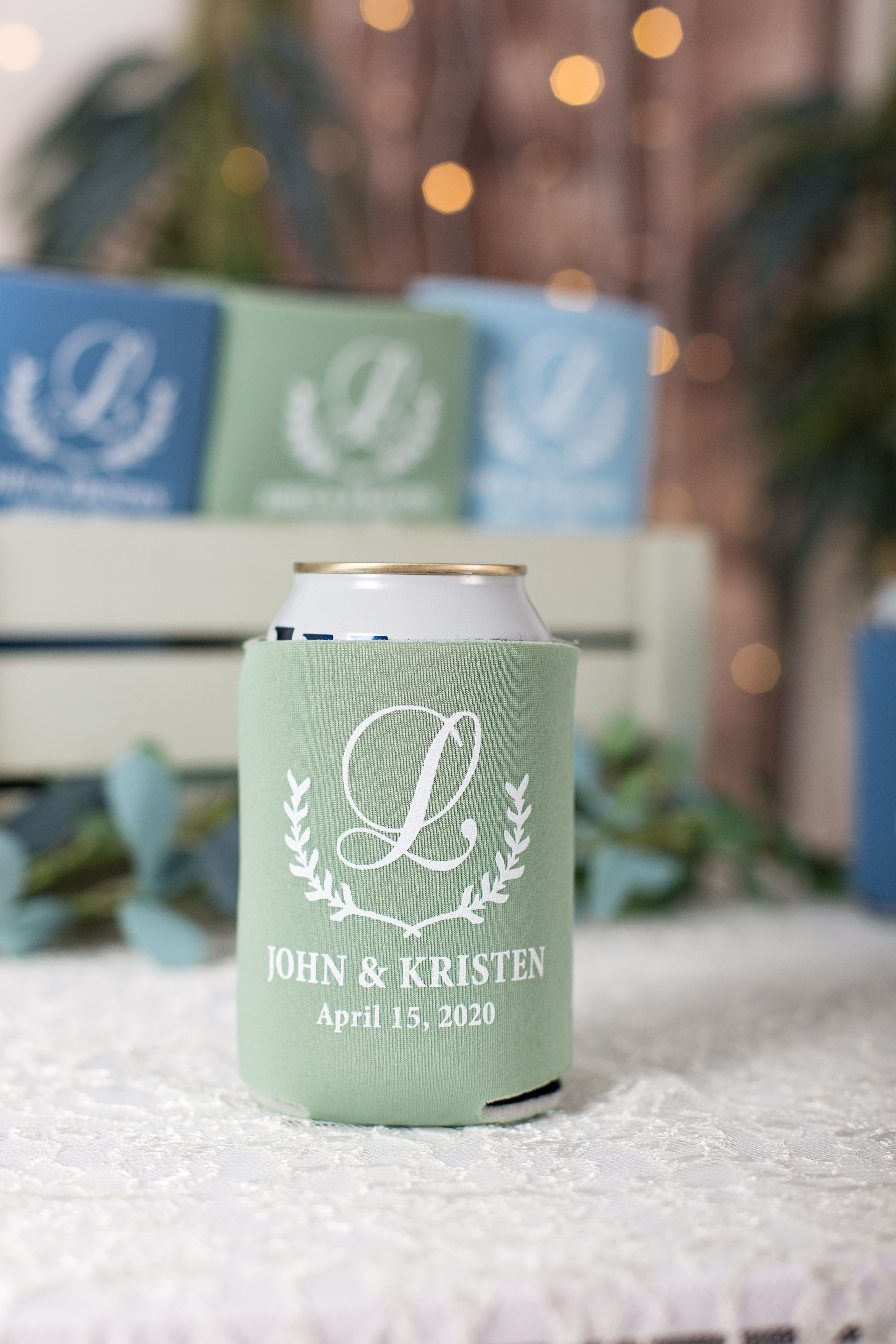Floral Can Cooler Wedding Can Coolers Personalized Can Cooler Southern Wedding Can Cooler Monogrammed Can Coolers