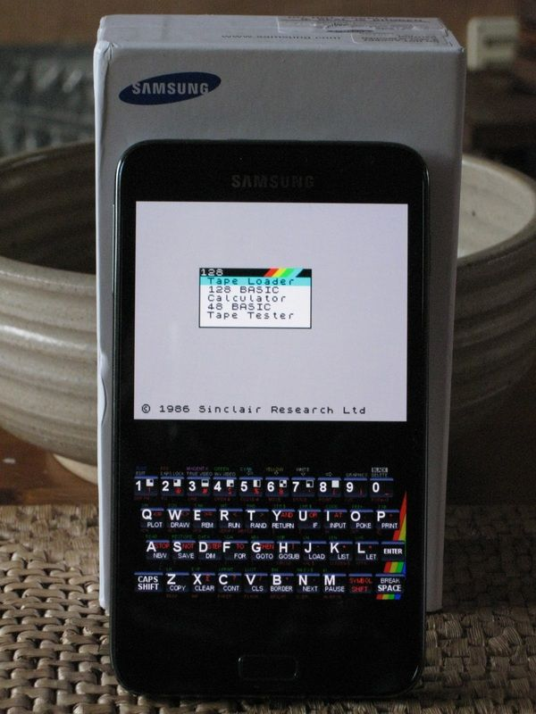 Marvin Sinclair Spectrum emulator running on a Samsung
