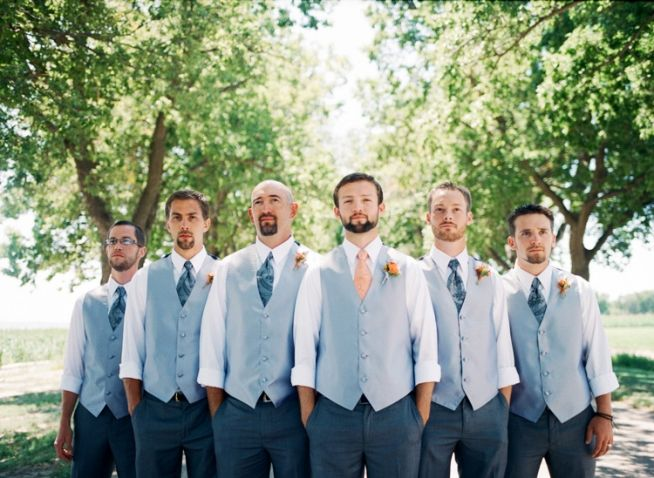 bcc5c8fd74b36 LIght gray vest, navy pants white shirt and colorful tie for Groomsmen