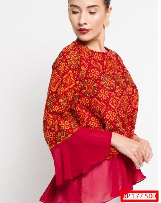 Baju Blus Batik Kombinasi Polos Atasan In 2019 Blouse Fashion