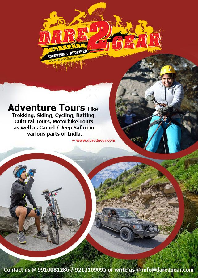 #AdventureTours Like- Trekking, Skiing, Cycling, Rafting, Cultural Tours, Motorbike Tours as well as Camel / Jeep Safari in various parts of #India. Know more details Contact us @ 9910081286 / 9212109095 or write us @ info@dare2gear.com ~Via: www.dare2gear.com #IncredibleIndia #AdventureNation #AdventureTrips #Tours #Holidays #Travellers